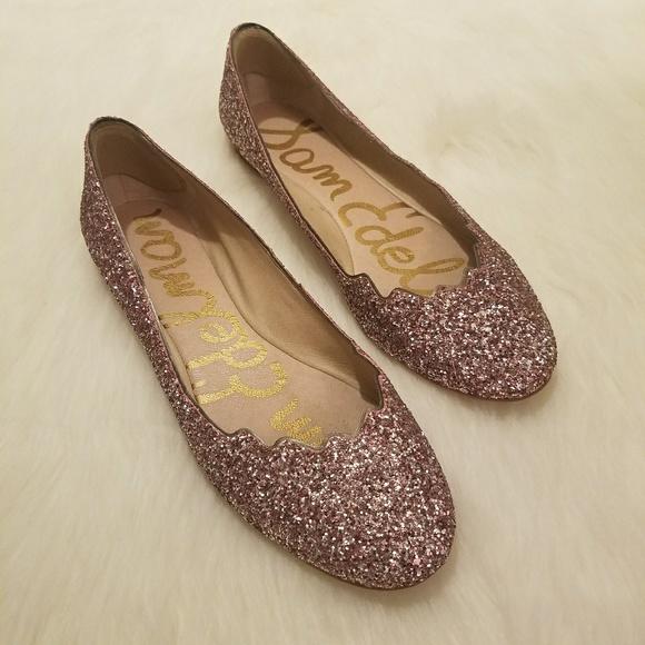 fb056911110ee Sam Edelman Alaine Pink Scalloped Glitter Flats. M 5ae1d18f6bf5a6e360828a31